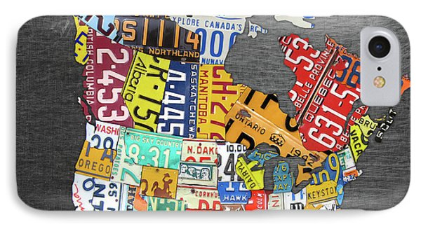 License Plate Map Of North America Canada And The United States On Gray Metal IPhone Case by Design Turnpike