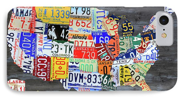 License Plate Map Of The United States Gray Edition 16 With Special Kodiak Bear Alaska Plate IPhone Case