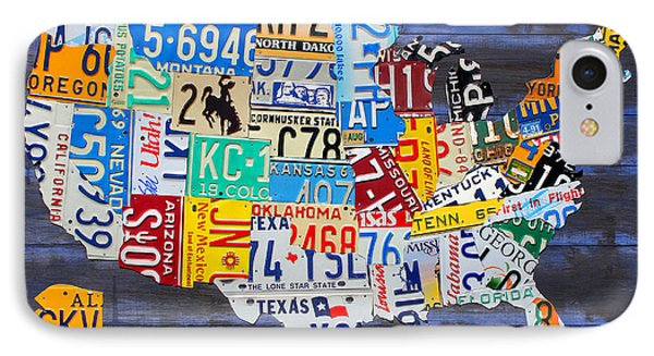 License Plate Map Of The Usa On Blue Wood Boards IPhone Case by Design Turnpike