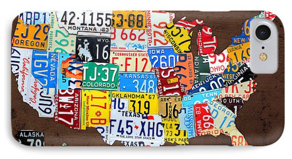 License Plate Map Of The Usa On Brown Wood IPhone Case by Design Turnpike