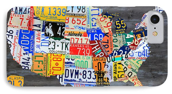 License Plate Map Of The Usa On Gray Distressed Wood Boards IPhone Case