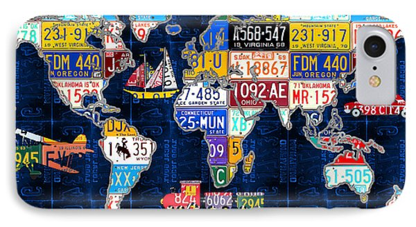 License Plate Map Of The World Travel Recycled Vintage Art With Augustine Quote IPhone Case