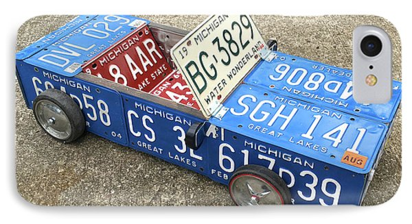License Plate Vintage Roadster Mobile Made From Recycled Michigan Car Tags IPhone Case