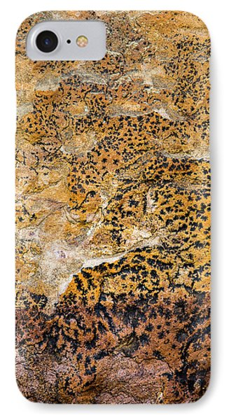 IPhone 7 Case featuring the photograph Lichen Abstract, Bhimbetka, 2016 by Hitendra SINKAR