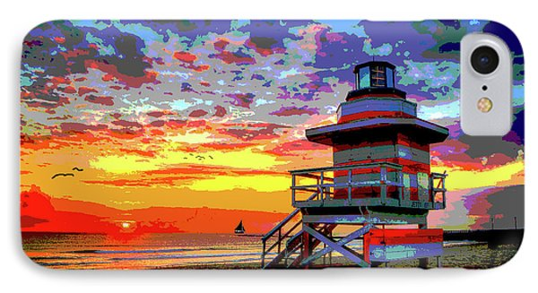 Lifeguard Tower At Miami South Beach, Florida IPhone Case by Charles Shoup