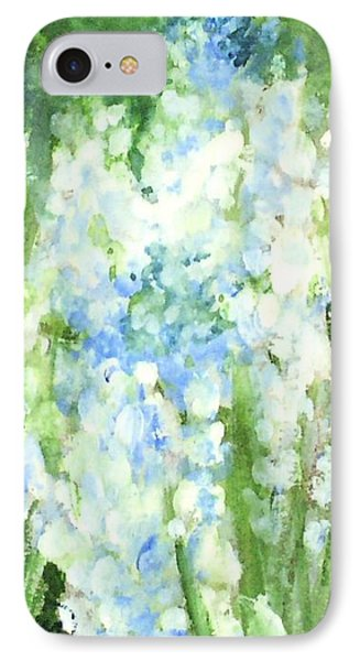IPhone Case featuring the painting Light Blue Grape Hyacinth. by Laurie Rohner