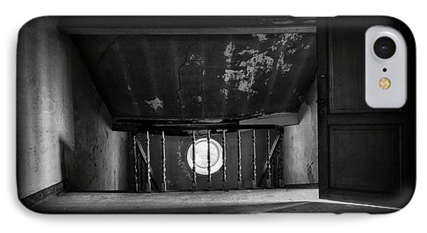 Light On The Attic - Abandoned Building Bw IPhone Case by Dirk Ercken