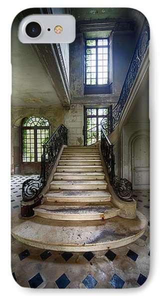IPhone Case featuring the photograph Light On The Stairs - Abandoned Castle by Dirk Ercken