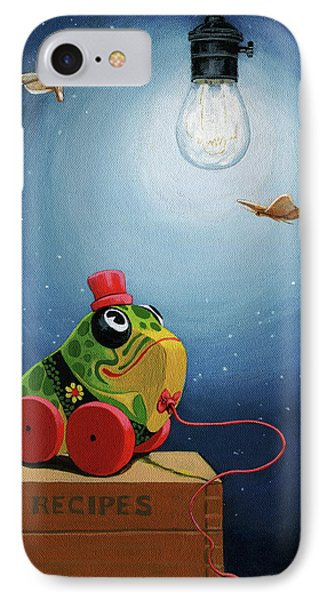 IPhone Case featuring the painting Light Snacks Original Whimsical Still Life by Linda Apple