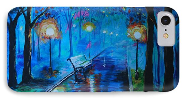 IPhone Case featuring the painting Lighted Parkway by Leslie Allen