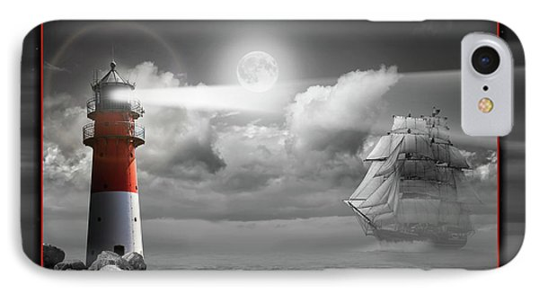 Lighthouse And Sailboat Under Moonlight IPhone Case by Monika Juengling