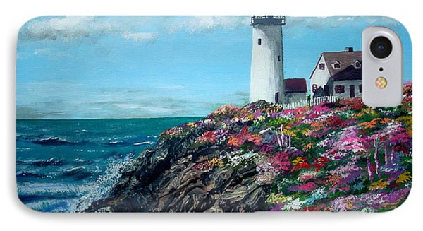IPhone Case featuring the painting Lighthouse At Flower Point by Jack Skinner