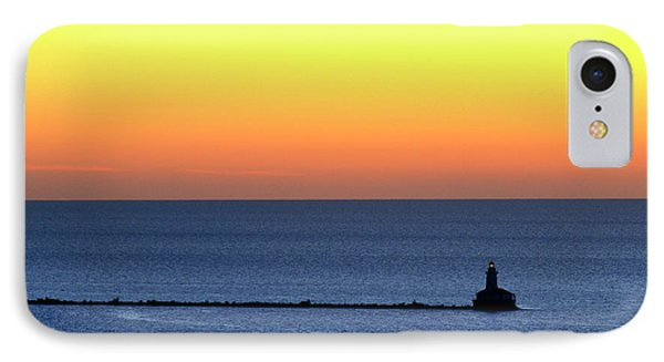 IPhone Case featuring the photograph Lighthouse At Sunrise On Lake Michigan by Zawhaus Photography