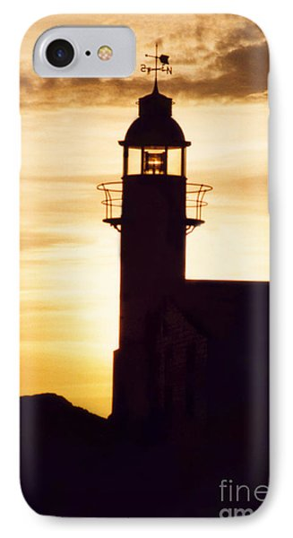 Lighthouse At Sunset IPhone Case by Mary Mikawoz