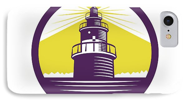 Lighthouse Circle Woodcut IPhone Case