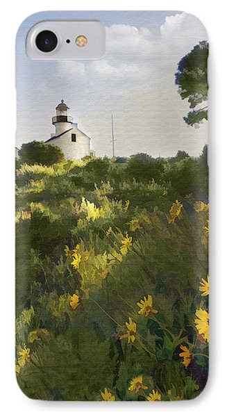 Lighthouse Daisies Phone Case by Sharon Foster