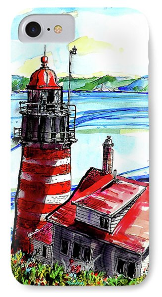 IPhone Case featuring the painting Lighthouse In Maine by Terry Banderas