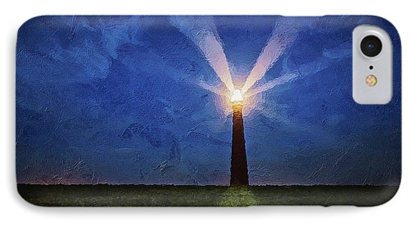 IPhone Case featuring the digital art Lighthouse In The Dusk by PixBreak Art