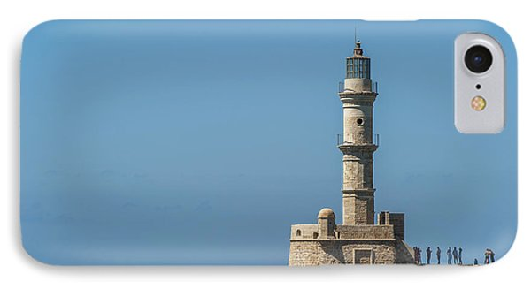 Lighthouse In The Venetian Harbour IPhone Case by Dosfotos