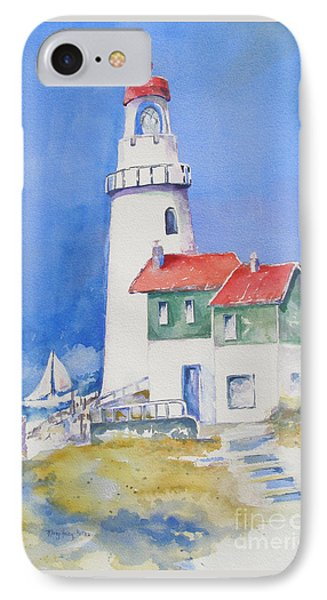 IPhone Case featuring the painting Lighthouse by Mary Haley-Rocks