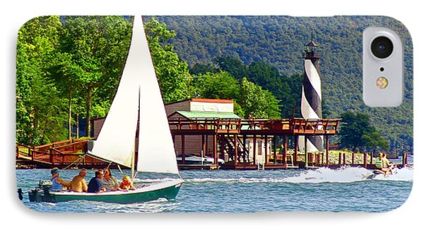 Lighthouse Sailors Smith Mountain Lake IPhone Case by The American Shutterbug Society