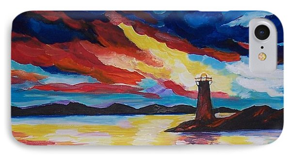 IPhone Case featuring the painting Lighthouse Storm by Leslie Allen