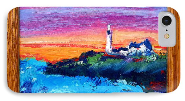 IPhone Case featuring the painting Lighthouse Sunset by Les Leffingwell