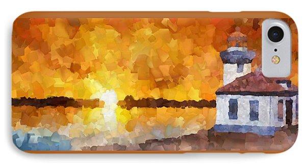 Lighthouse Sunset Palette Knife Oil IPhone Case