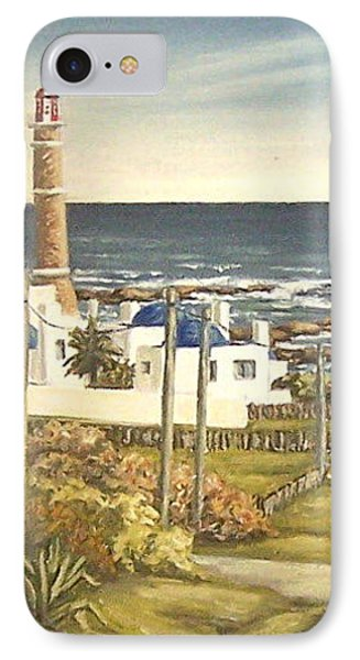 IPhone Case featuring the painting Lighthouse Uruguay  by Natalia Tejera