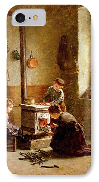 Lighting The Stove Phone Case by Pierre Edouard Frere