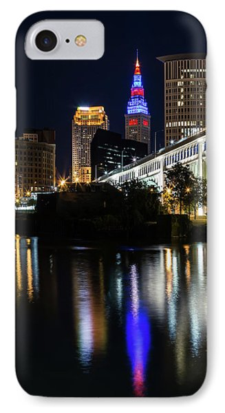 IPhone Case featuring the photograph Lighting Up Cleveland by Dale Kincaid
