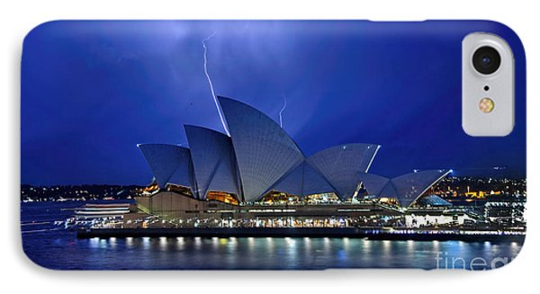 Lightning Above The Opera House Phone Case by Kaye Menner