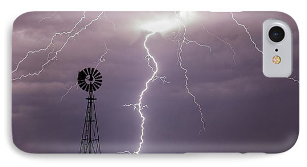 Lightning And Windmill -02 IPhone Case by Rob Graham