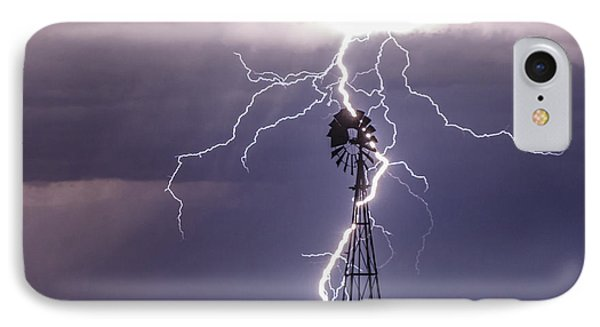 Lightning And Windmill IPhone Case by Rob Graham