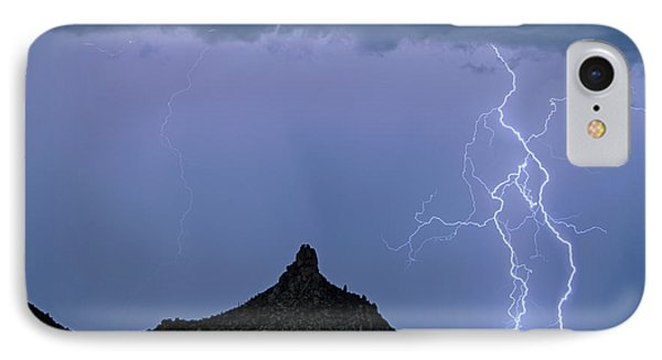 IPhone 7 Case featuring the photograph Lightning Bolts And Pinnacle Peak North Scottsdale Arizona by James BO Insogna