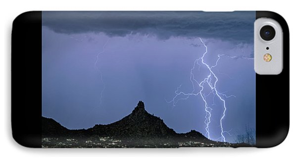 IPhone Case featuring the photograph Lightning Bolts And Pinnacle Peak North Scottsdale Arizona by James BO Insogna