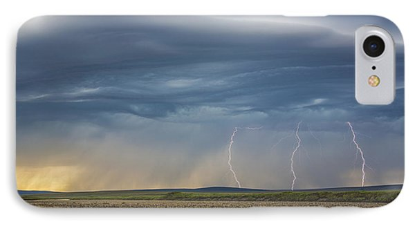 Lightning Bolts Descend From Dark IPhone Case by David Shaw