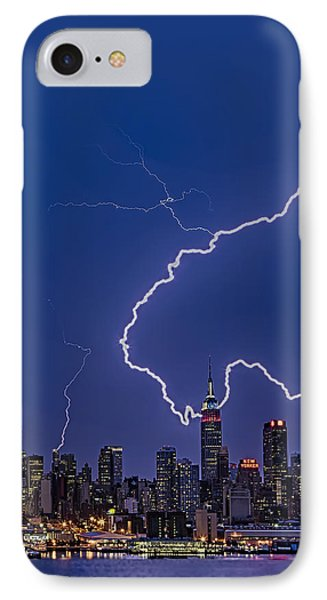 Lightning Bolts Over New York City Phone Case by Susan Candelario