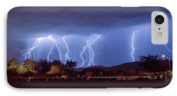 Lightning Over Laveen IPhone Case by Kimo Fernandez
