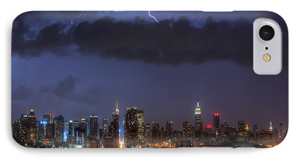 Lightning Over New York City I Phone Case by Clarence Holmes