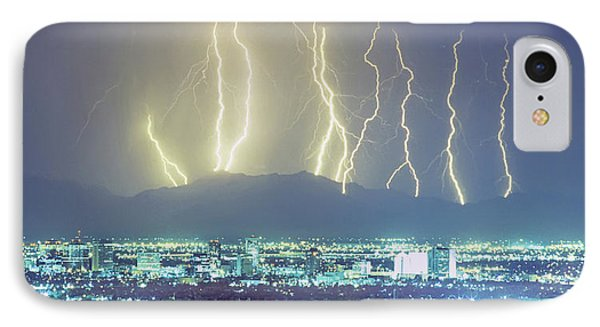 IPhone Case featuring the photograph Lightning Over Phoenix Arizona Panorama by James BO Insogna