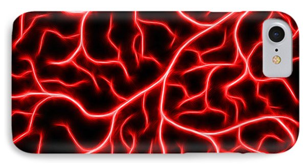 IPhone Case featuring the digital art Lightning - Red by Shane Bechler