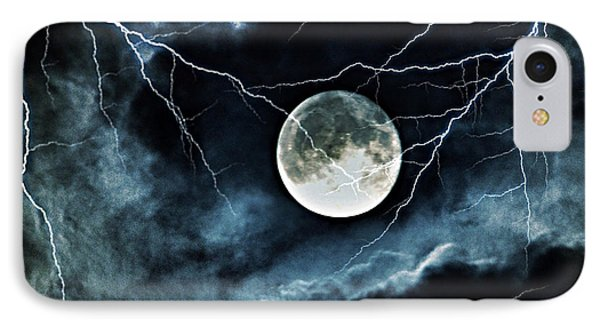Lightning Sky At Full Moon IPhone Case by Marianna Mills