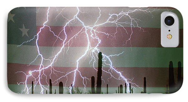 Lightning Storm In The Usa Desert Flag Background Phone Case by James BO  Insogna