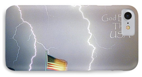Lightning Strikes God Bless The Usa Phone Case by James BO  Insogna