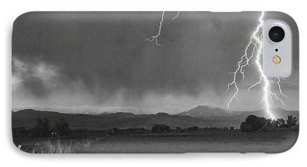 Lightning Striking Longs Peak Foothills 5bw IPhone 7 Case