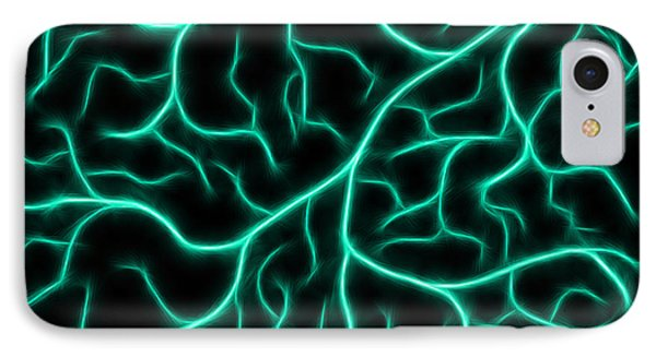 IPhone Case featuring the digital art Lightning - Teal by Shane Bechler