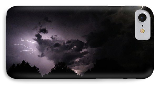Lightning With Stars And Moon  Phone Case by Todd Krasovetz