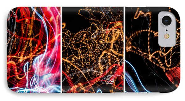 Lightpainting Triptych Wall Art Print Photograph 5 IPhone Case by John Williams