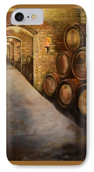 IPhone Case featuring the painting Lights In The Wine Cellar - Chateau Meichtry Vineyard by Jan Dappen